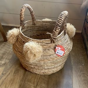 Opalhouse Natural Woven Belly Basket with Pom Poms